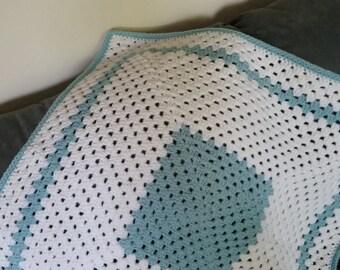 Hand crocheted white & aqua baby blanket