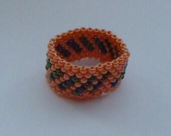 Beaded Ring, Handmade Peyote Stitch Jewellery