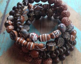 Layered Wooden Beaded Southwest Boho Bracelet, Boho Bracelet, Southwest Bracelet, Jewelry. Bracelet