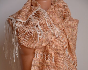 Lacy Cloak Apricot / Soft Summer Wrap / Lacy Boho Cape / Fringed Soft Orange Scarf / Exotic Wrap / Romantic Shawl / Unique / Hand Woven