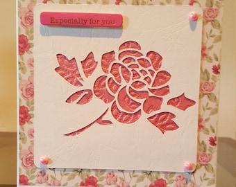 Handmade ' Especially for You' Rose card