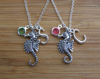Seahorse Best Friends Necklaces, Set of TWO Personalized Necklaces, Birthday Gift, Bridesmaid Gifts, Seahorse Sea Animal Lovers Gift