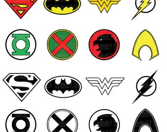 Justice League Superhero Symbol Clipart | SVG/PNG/EPS/ Files | Superman | Batman | Wonder Woman | Flash | Aquaman | Personal/Commercial Use