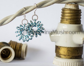 Ruffled vintage cable spiral earrings (large)