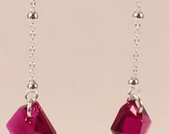 Sterling Silver Ear Threads with Swarovski Cosmic Pendant in Ruby