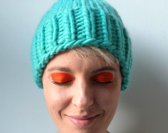 Hand Knitted Beanie - Turquoise