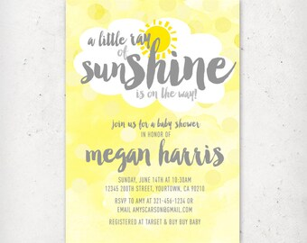Little Ray of Sunshine Baby Shower Invitation - My Little Sunshine, Grey, Yellow, Sun - DIY Printable Digital File (Printing also available)