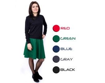 Short skirt Mini skirt Blue skirt Women fashion Hand made skirt Fall skirt Half circle skirt Classic skirt Round skirt Wide skirt