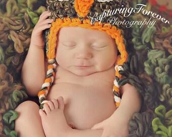 Crochet Camo Owl Hat -Newborn Baby Toddler child