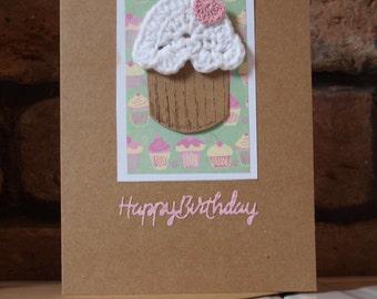 Crochet cupcake birthday card.