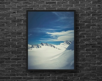Snowy Mountains Print - Snow - Blue Wall Decor - Blue and White - Nature Photography - Vertical - Mountain Wall Art - Winter Wall Decor