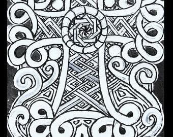 Engraving cross Armenian full moon