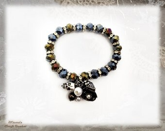"""Black Heart Bracelet, 7.5"""", Rose, Skull, Antique Gold Key, Pearl, Glittery, Colourful, Women's, Girl's"""