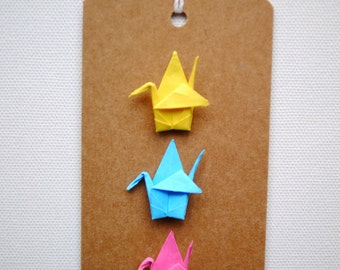 Origami crane gift tag - bright colours
