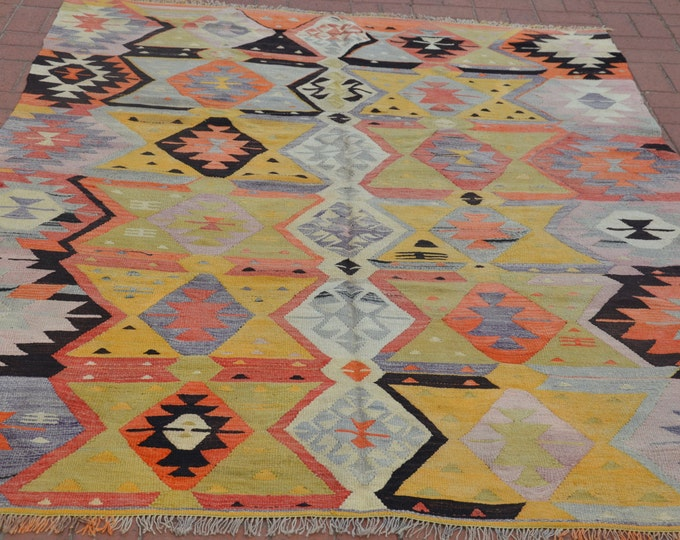 "CHRISTMAS SALE %7 Pastel Kilim Rug, 72"" x 92"" / 180 x 230 cm, Turkish Kilim Rug, Orange Kilim Rug, Vintage Boho Turkish Rug, Bohemian Rug"