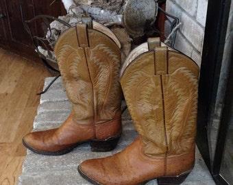 Vintage Justin Ostrich Cowboy Boots