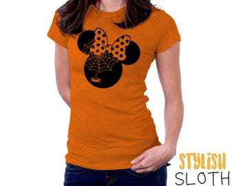 Minnie Mouse Spiderweb Halloween Disney T shirt Women Men Children T shirt
