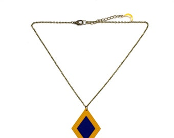 "Necklace diamond ""The mustard bullroarer"" leather mustard and hand made electric blue"