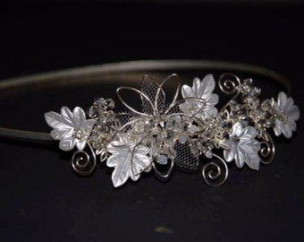 Silver Leaf Swarovski Headband