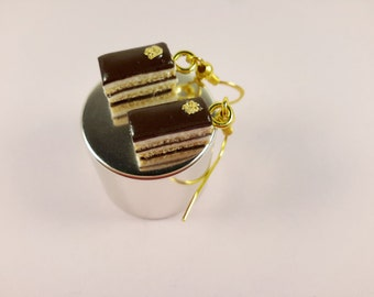 Opera Cake Earrings, Miniature food, Miniature Cake Earrings, French Cake Jewelry, Polymer clay Earrings, Tiny Chocolate cake earrings