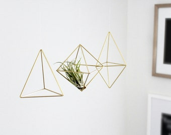 Set of 3 Small Himmeli, Air Plant Holder, Geometric Wall Prism