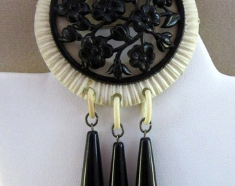 Vintage Celluloid Pin with Dangles