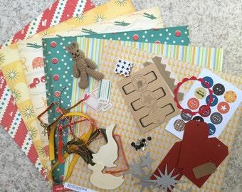 Kit scrapbooking mini album, bright colors, child theme, toys, baby