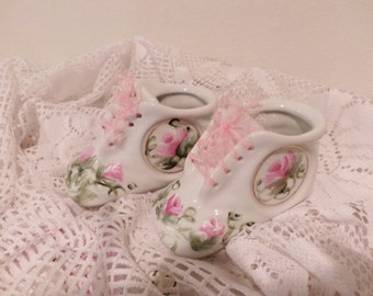 Adorable Shabby Chic Hp Hand Painted Sweet Porcelain Baby Shoes, pink roses, pink ribbons, OOAK.