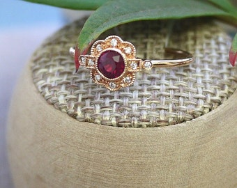 18K solid rose gold ruby and diamond art deco ring