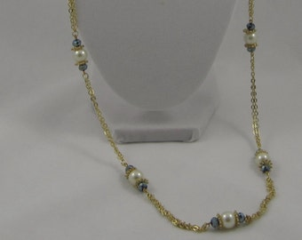 Long Beaded Gold Necklace