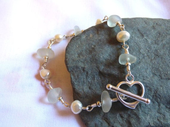 White Sea Glass & Freshwater Pearl Bracelet with Sterling Silver Heart Toggle Clasp - BF16004