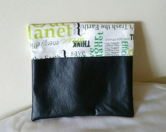 "Fold-over Clutch Purse with faux leather - ""Save the Earth"" fabric - black white green zipper pouch or clutch"