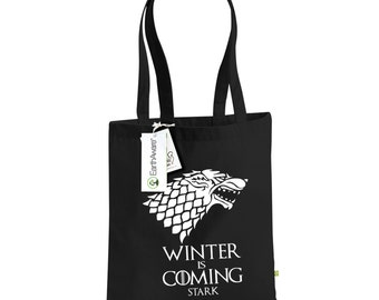 Winter is Coming Game of Thrones Tote Bag Made from 100% Organic Cotton Canvas , Choice of Colours,  House Stark Sigil, TS1009