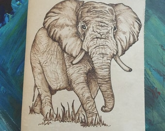 Refillable Leather Journal with Burned African Elephant Design