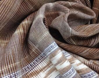 Brown Tree Bark 100% Handwoven Cotton Scarf