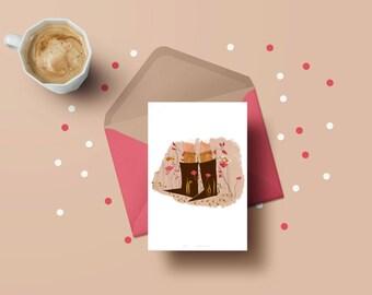 Postal 10, 5 x 14, 8 - card Illustration boots & flowers