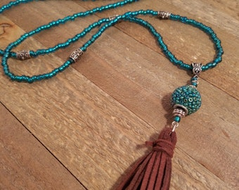 Long Boho Turquoise, Silver and Brown Suede Tassel Beaded Necklace