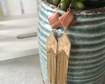 Golden Red Rock Stone Earrings