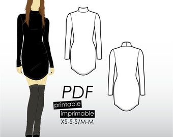 XS-M Bodycon dress with curved hem, long sleeves and turtle neck (PDF sewing pattern for jersey)
