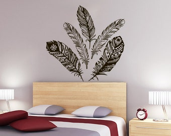 Feather Wall Decal Beautiful Feathers Vinyl Sticker Decals Decorative  Feather Set Tribal Boho Bohemian Bedroom Decor Part 82
