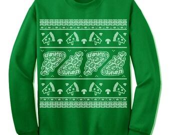 Pizza Christmas Sweatshirt. Ugly Sweater. Pizza Slice. Scandinavian Motive. Italian. Ugly Christmas Sweater. Party. Fleece. Nordic.