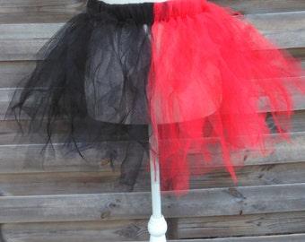 Skirt Tutu Harley Quinn black and Red filledesorciere
