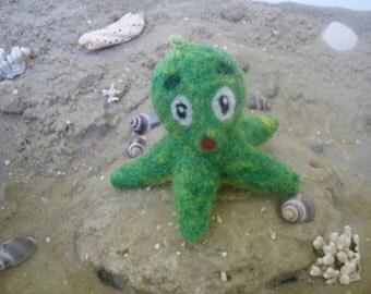 Needle felted squid seafood, sea, animal, trailer, soft, felt figure, felt, green, needle felted animal keychains