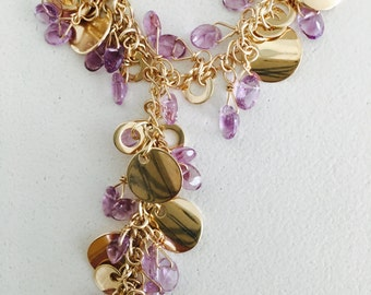 Amethyst and Gold Discs Necklace and Earrings Set