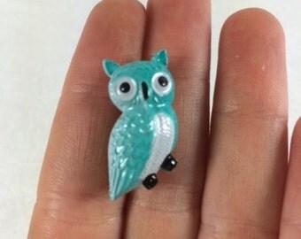 Vintage Owl Brooch Vintage Blue Owl Brooch Plastic Owl Brooch Costume Jewelry Vintage Jewelry