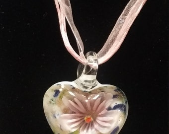 Glass Flower Heart Shape Necklace