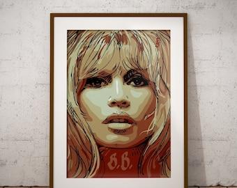 Brigitte Bardot, Brigitte Bardot print, Brigitte Bardot drawing, Wall art, Modern art, Brigitte Bardot sketch, Brigitte Bardot poster