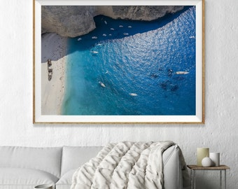 Greece Aerial Beach Photography, Large Wall Art Decor, Colour Fine Art Photography, Art Prints, Summer Umbrellas with Turquoise Ocean Water