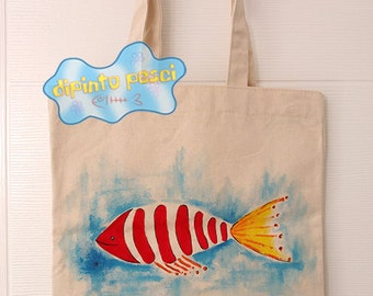Red Fish Handpainted Tote Bag