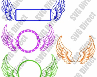 Angel Wings SVG cut file - use with Silhouette Studio & Cricut, Vector Art, Vinyl Digital Cutting Cut Files